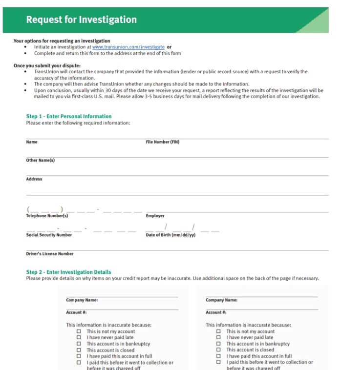 Transunion sample form for investigation