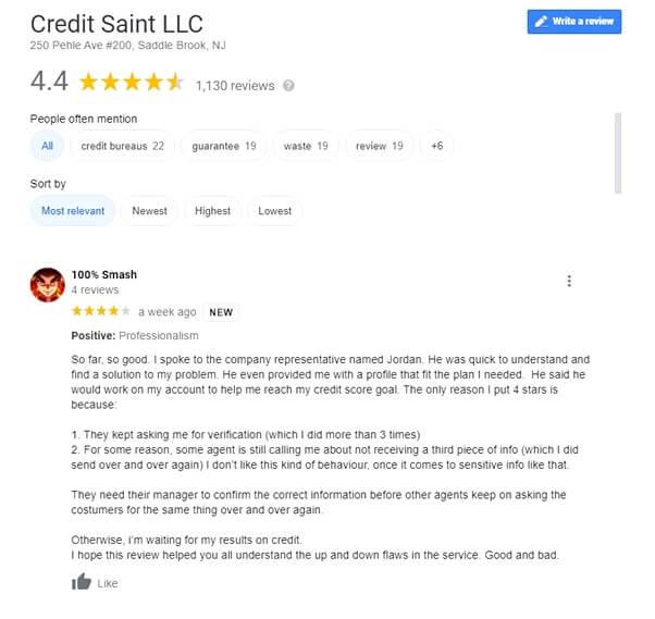 positive Credit Saint google review