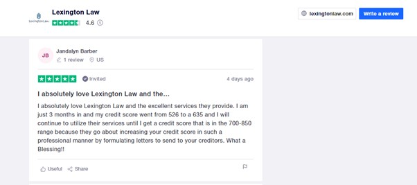Lexington Law trustpilot review