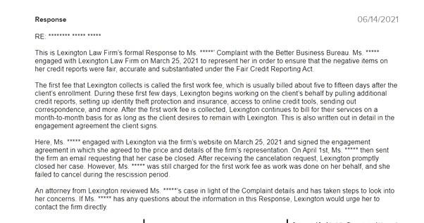 Lexington Law responded to complaints