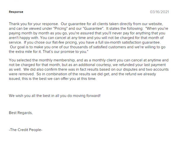 The Credit People complaints response