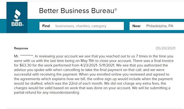 complaint on CreditRepair.com's bbb.org