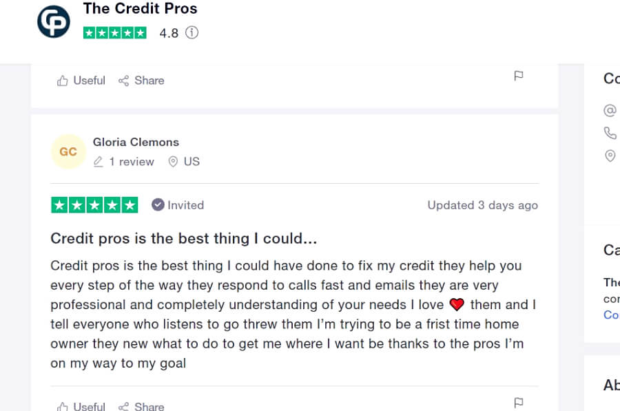 The Credit Pros reviews trustpilot